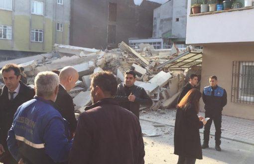 Mersin'de 4 katlı ev çöktü