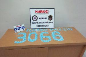 3066 Adet Uyuşturucu hap ele geçirildi.