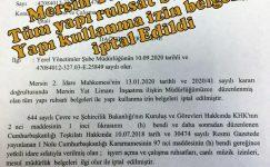 MARİNA İÇİN YAPI İZİNLERİ İPTAL EDİLDİ