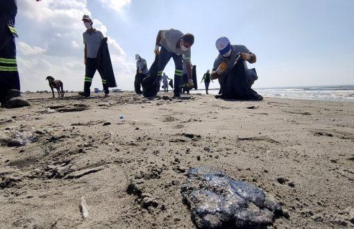 Adanalıoğlu Sahiline Vuran Petrol Atıkları Temizlendi